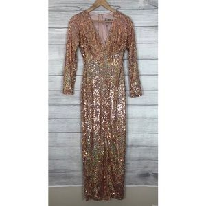 ASOS Rose Gold Sequin Long Sleeve Gown